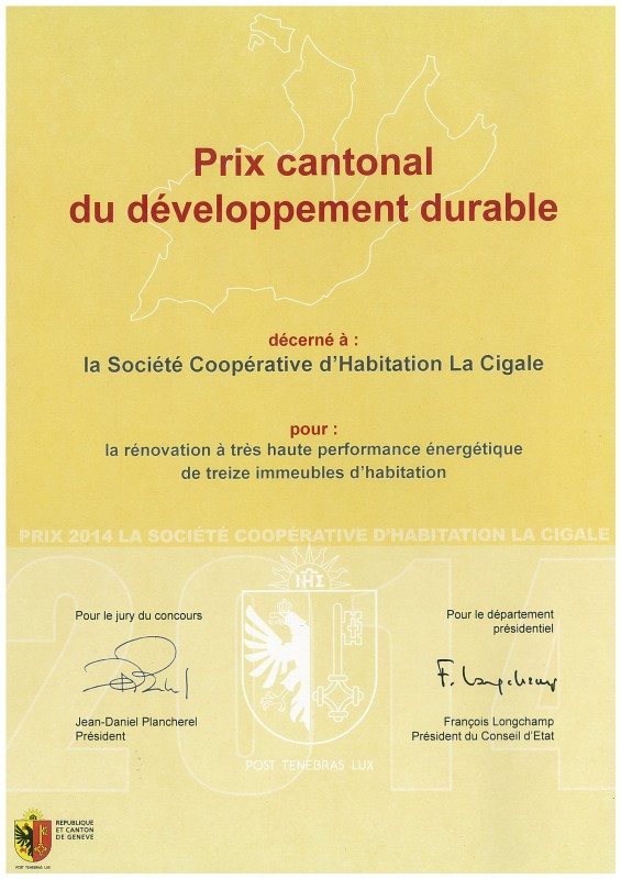 Cantonal award for sustainable development 2014